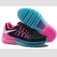 """NIKE"" Trending AirMax Behind the hook section rainbow knited line Fashion Casual Sports Shoes Black white hook (pink blue soles)"