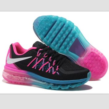 """""""NIKE"""" Trending AirMax Behind the hook section rainbow knited line Fashion Casual Sports Shoes Black white hook (pink blue soles)"""