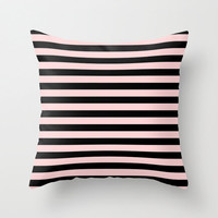 Pink and Black Striped Pillow - Pink Pillow - Velveteen Pillow - Pink and Black Pillow Cover - Striped Pillow - Striped Cushion Cover