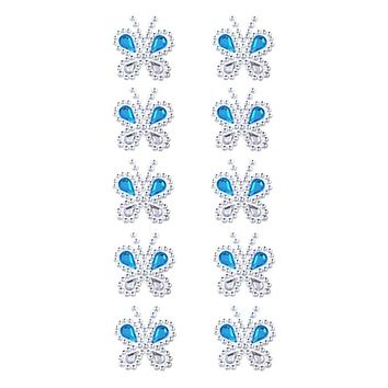 Rhinestone Butterfly Stickers, Turquoise, 1-1/2-Inch, 10-Count