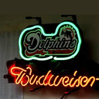 Miami Dolphins Budweiser NFL Sports Neon Sign Real Neon Light