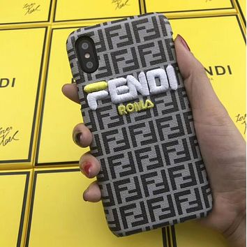FENDI Trending Stylish Letter Embroidery Leather Mobile Phone Cover Case For iphone 6 6s 6plus 6s-plus 7 7plus 8 8plus X XSMax XR Grey