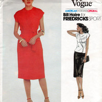 80s Vogue American Designer Original Bill Haire Friedricks Sport Sewing Pattern Skirt Double Breasted Blouse Shirt Top Bust 34 Uncut FF