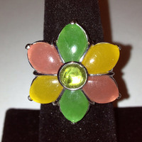 Jade Peridot Ring Sterling Silver Flower 925 Sz 7 Pink Green Yellow Cocktail Christmas Holiday BIrthday Anniversary Mother's Gift Jadeite