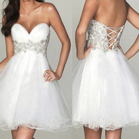 Sweetheart Strapless Bodice Evening Prom Gown Wedding Cocktail Party Dress Short