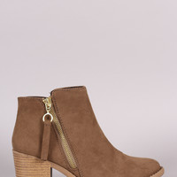 Qupid Suede Side Zipper Stacked Heel Booties