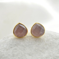 Beautiful Pink Chalcedony Faceted Heart 9mm Micron Gold Plated 925 Sterling Silver Stud Earring - #1680