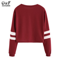 Womens Long Sleeve Tops Korean Fashion Winter Tops for Women Clothes Varsity Striped Sleeve Crop T-shirt