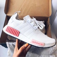 """Adidas"" NMD Fashion Sneakers Trending Running Sports Shoes White-pink"