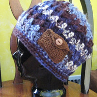 Blue brown Men's Women's Hat, Beanie, Chunky, Warm. Teens, Winter, Ski Hat, Birthday Gifts, Gifts for Her for Him,Chunky Gift under 50