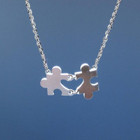 The Heart in the Puzzle Necklace in silver