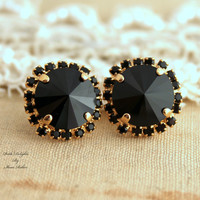 Black Gold Swarovski stud Rhinestone earring,mother of the bride, wedding jewelry - 14k Gold plated real Swarovski crystals dangle earrings.