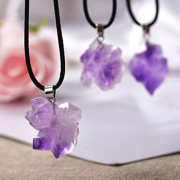 Natural Stone Pendant Necklace Amethysts Crystal Random-shaped Stones Reiki Fashion Mineral Jewelry