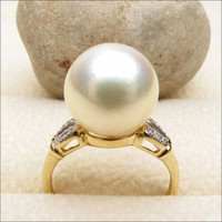 11.1mm South Sea Pearl Real .17ctw Diamonds Engagement Ring 14K Yellow Gold