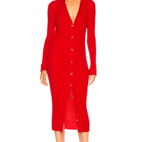 Maison Margiela Rib Knit Long Cardigan in Red | FWRD