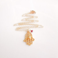 Hamsa Necklace with Ruby in Gold