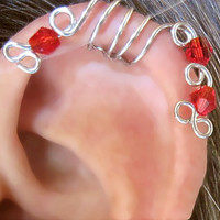 "Helix ""Red Peacock"" Ear Cuff No Piercing 1 Cuff COLOR CHOICES"