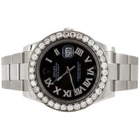 Mens 41mm 116300 Rolex DateJust II Steel Diamond Watch Black Roman Dial 5.50 CT