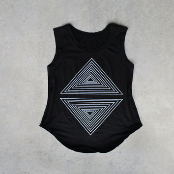 Tshirt for women - cap sleeve t shirt - geometric triangle print on jet black a-line cotton tops - summer fashion - Rule of Thirds