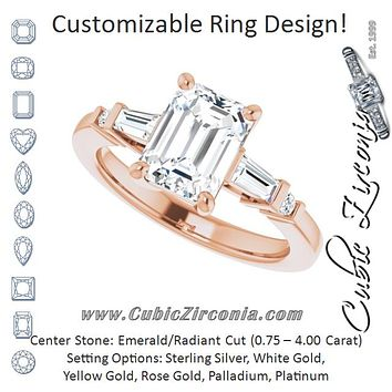 Cubic Zirconia Engagement Ring- The Belem (Customizable 5-stone Baguette+Round-Accented Emerald Cut Design))