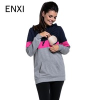 ENXI For Breast Feeding Clothes Autumn And Winter Nursing Tops Long Sleeve For Pregnant Women Maternity Women Sport Clothing