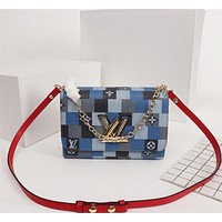 LV Louis Vuitton WOMEN'S MONOGRAM CANVAS Patchwork Twist Denim SHOULDER BAG
