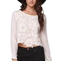 Lush Lace Front Long Sleeve Top - Womens Shirts - White