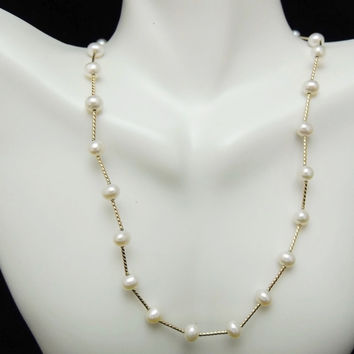 Cultured Pearl 14k Gold Station Necklace