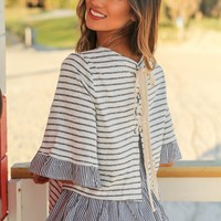 Gray Striped Top with Lace Up Back