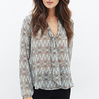 LOVE 21 Butterfly Print Tie-Neck Blouse Sage/Ivory