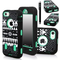 iPhone 5C Case, E LV iPhone 5C case - heavy Duty Rugged Dual Layer Hybrid Armor Defender Case Cover for iPhone 5C with 1 Screen Protector, 1 Black Stylus and 1 Microfiber Sticker Digital Cleaner (Apple Iphone 5c) - Tribal Green