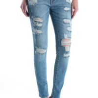 Distressed ankle skinny denim jeans