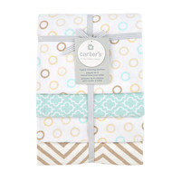 Carter's Taupe Dots 4pk Receiving Blanket