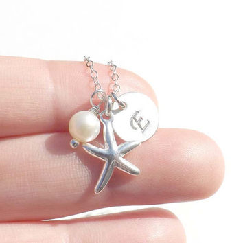 Starfish necklace - Personalized Sterling Silver Starfish Pendant - bridesmaids and friends