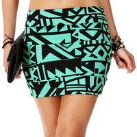 MintBlack Banded Tribal Skirt
