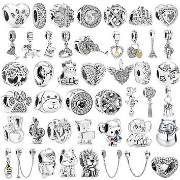 AIFEILI Silver Color Lucky Cat Lion Safety Chain Crown Owl Pendant Fit Pandora Charms Bracelet DIY Women Original Beads Jewelry