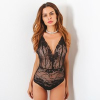 Hot Deal On Sale Cute Summer Women's Fashion Sexy Deep V Lace One-piece Exotic Lingerie [10510237507]