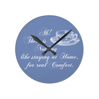 Jane Austen Text Home and Tea Blue Wall Clock