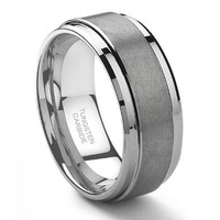 9MM Tungsten Metal Men's Wedding Band Ring in Comfort Fit and Matte Finish Size 7-13.5