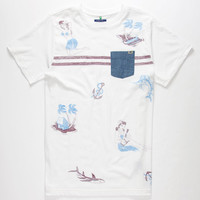Lost Hula Girl Mens Pocket Tee White  In Sizes