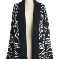 ModCloth Mid-length Long Sleeve Cool and Cozy Cardigan in Monochrome