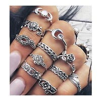 11 Pcs Bohemian Chic Moon Flowers Rose Antique Silver Plated Ring Set