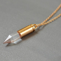 Polished Clear Quartz Crystal Point Rose Gold Bullet Pendulum Long Chain Necklace