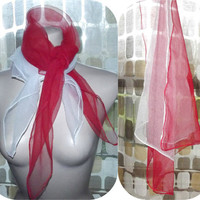 Vintage 50s 60s Sheer Nylon Head Scarves RED & CREAM 2pc Square Scarf