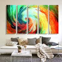 Oil Painting Canvas Abstract Colorful Whirlpool Wall Art Decoration Home Decor  Modern Wall Picture For Living Room(5PCS)