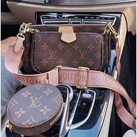 Louis Vuitton LV Fashion Handbag Leather Shoulder Bag Three-piece Set