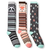 Women's Knee High Socks 3-Pack Forest Critters Natural One Size - Xhilaration™