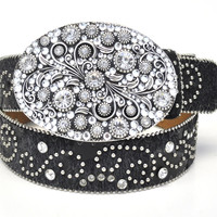 Nocona Ladies Rhinestone Round Swirl Western Leather Belt