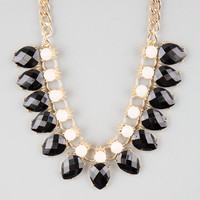 Full Tilt Facet Stone Teardrop Statement Necklace Black Combo One Size For Women 25136814901