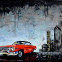 Red 1960's Chevrolet Impala, original oil painting, 1963, Chevy, car, classic car, gift, present, men, fathers day